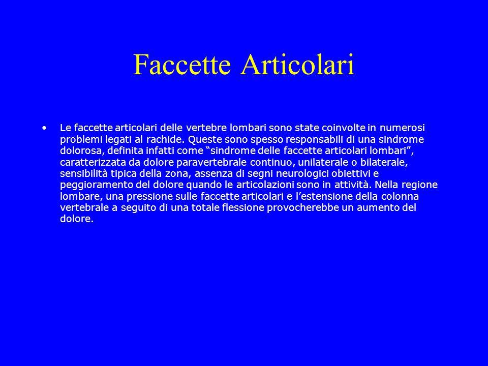 Faccette Articolari Le faccette articolari delle vertebre lombari sono state coinvolte in numerosi problemi legati al rachide. Queste sono spesso resp