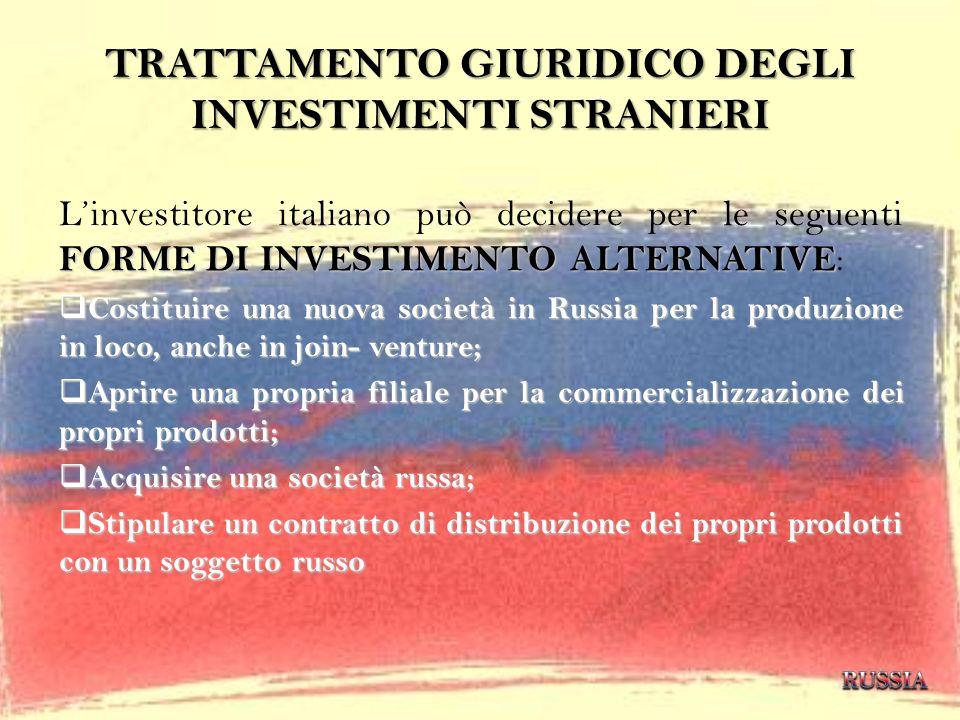 TRATTAMENTO GIURIDICO DEGLI INVESTIMENTI STRANIERI FORME DI INVESTIMENTO ALTERNATIVE Linvestitore italiano può decidere per le seguenti FORME DI INVES