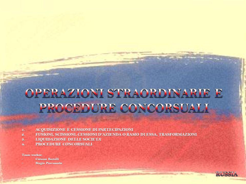 1.ACQUISIZIONE E CESSIONE DI PARTECIPAZIONI 2.FUSIONI, SCISSIONI, CESSIONI DAZIENDA O RAMO DI ESSA, TRASFORMAZIONI 3.LIQUIDAZIONE DELLE SOCIETA 4.PROC