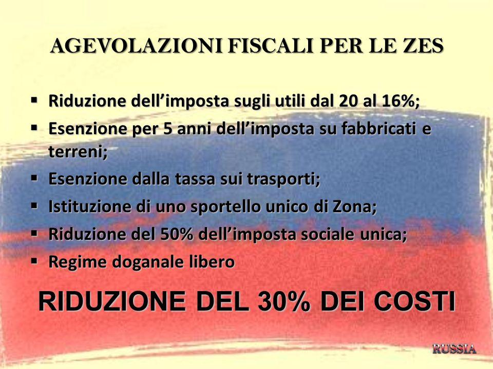 AGEVOLAZIONI FISCALI PER LE ZES Riduzione dellimposta sugli utili dal 20 al 16%; Riduzione dellimposta sugli utili dal 20 al 16%; Esenzione per 5 anni