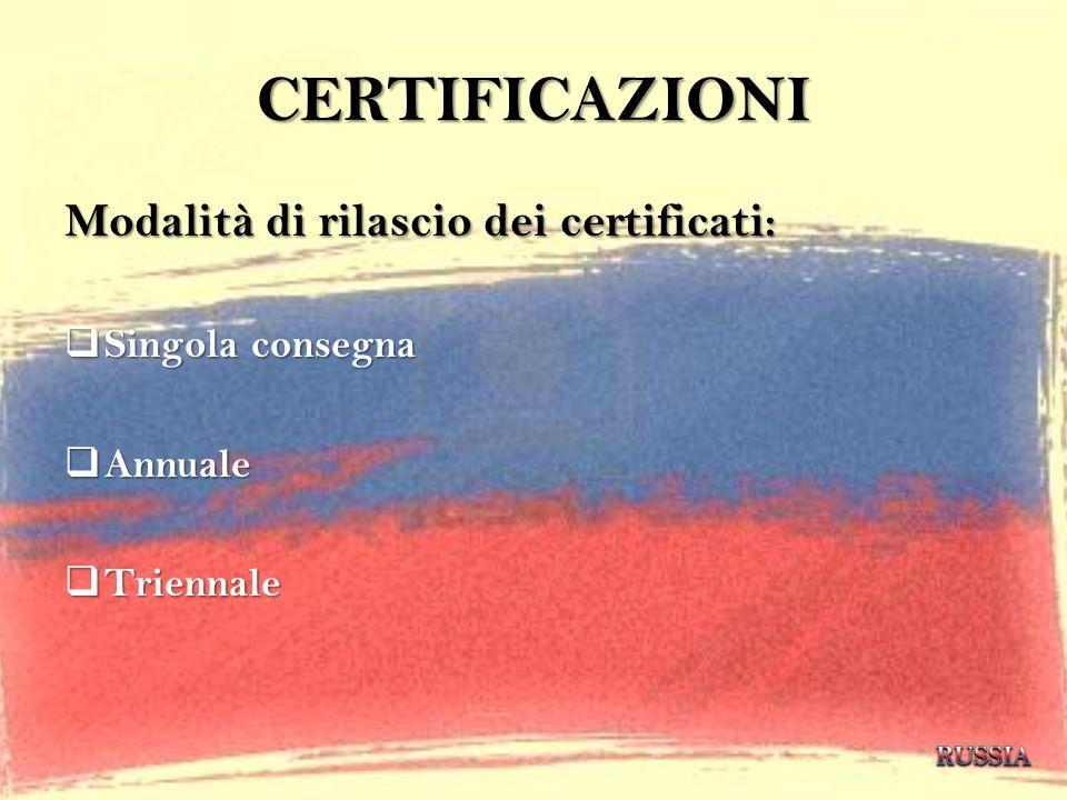 CERTIFICAZIONI Modalità di rilascio dei certificati: Singola consegna Singola consegna Annuale Annuale Triennale Triennale