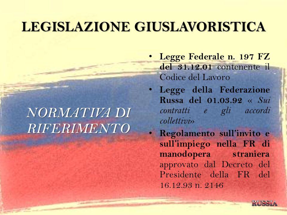 LEGISLAZIONE GIUSLAVORISTICA NORMATIVA DI RIFERIMENTO Legge Federale n. 197 FZ del 31.12.01 contenente il Codice del Lavoro Legge della Federazione Ru
