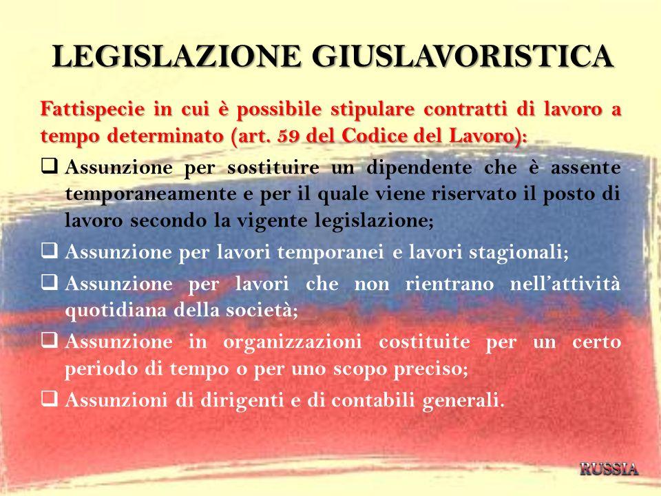 LEGISLAZIONE GIUSLAVORISTICA Fattispecie in cui è possibile stipulare contratti di lavoro a tempo determinato (art. 59 del Codice del Lavoro): Assunzi
