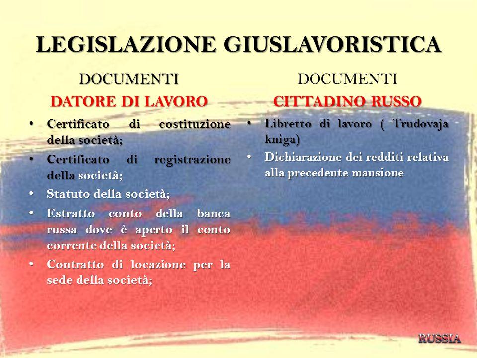 LEGISLAZIONE GIUSLAVORISTICA DOCUMENTI DATORE DI LAVORO Certificato di costituzione della società; Certificato di costituzione della società; Certific