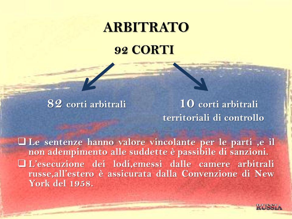 ARBITRATO 92 CORTI 82 corti arbitrali 10 corti arbitrali territoriali di controllo territoriali di controllo Le sentenze hanno valore vincolante per l
