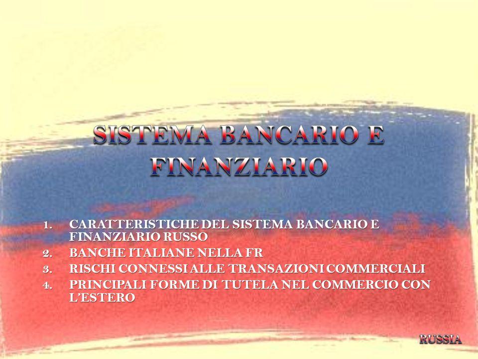 1.CARATTERISTICHE DEL SISTEMA BANCARIO E FINANZIARIO RUSSO 2.BANCHE ITALIANE NELLA FR 3.RISCHI CONNESSI ALLE TRANSAZIONI COMMERCIALI 4.PRINCIPALI FORM