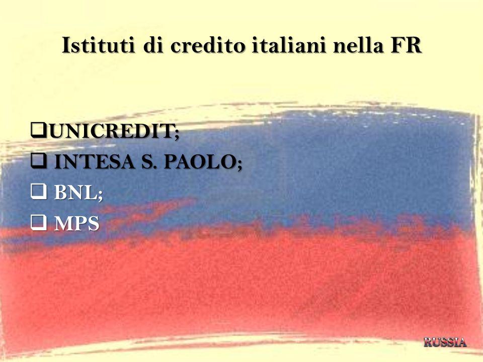 Istituti di credito italiani nella FR UNICREDIT; UNICREDIT; INTESA S. PAOLO; INTESA S. PAOLO; BNL; BNL; MPS MPS