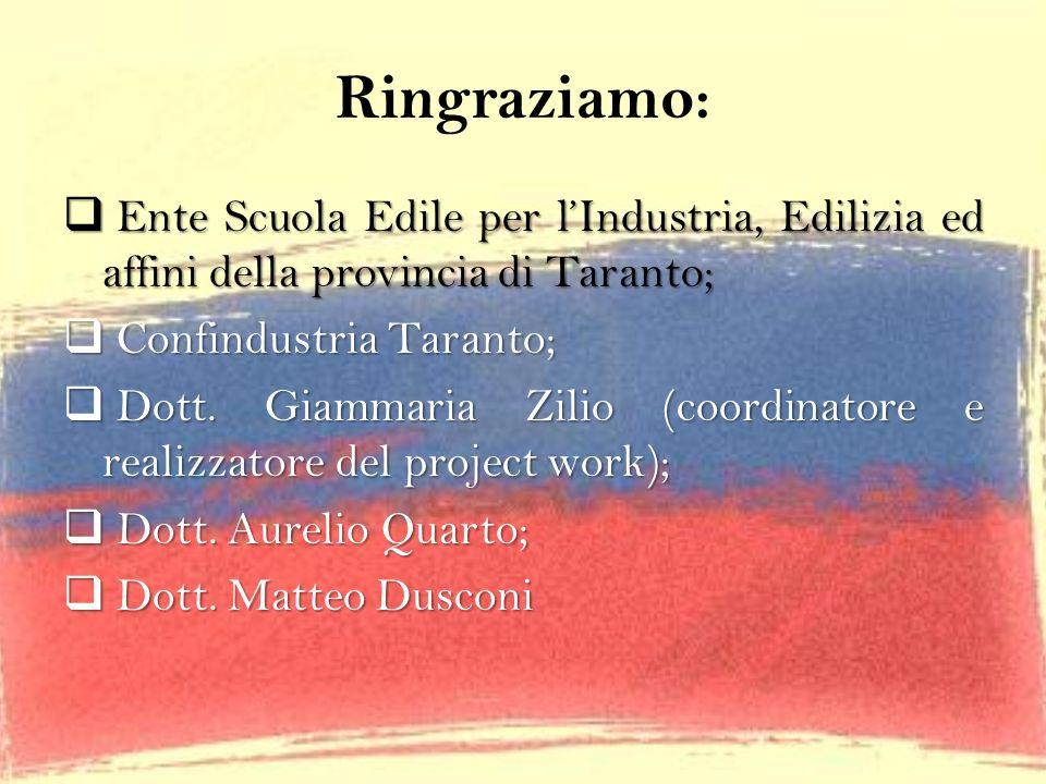 Ringraziamo: Ente Scuola Edile per lIndustria, Edilizia ed affini della provincia di Taranto; Ente Scuola Edile per lIndustria, Edilizia ed affini del