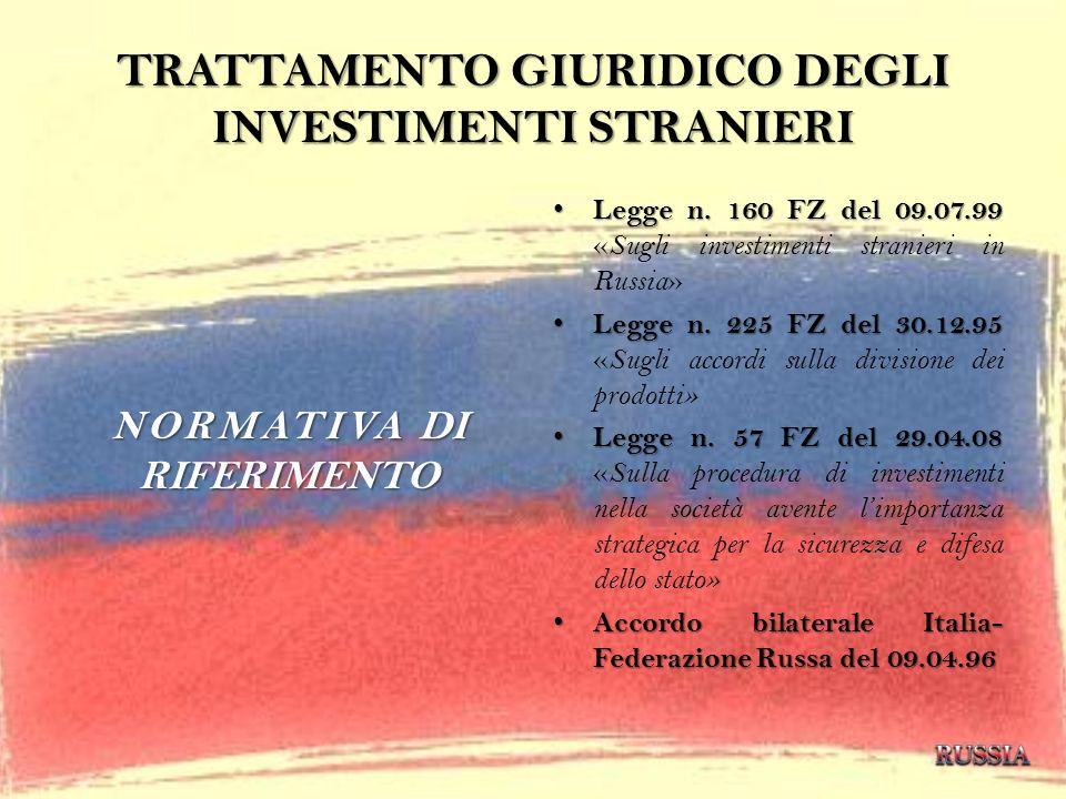 TRATTAMENTO GIURIDICO DEGLI INVESTIMENTI STRANIERI NORMATIVA DI RIFERIMENTO Legge n. 160 FZ del 09.07.99 Legge n. 160 FZ del 09.07.99 « Sugli investim