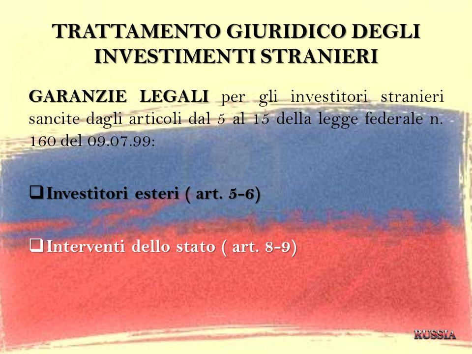 TRATTAMENTO GIURIDICO DEGLI INVESTIMENTI STRANIERI GARANZIE LEGALI GARANZIE LEGALI per gli investitori stranieri sancite dagli articoli dal 5 al 15 de