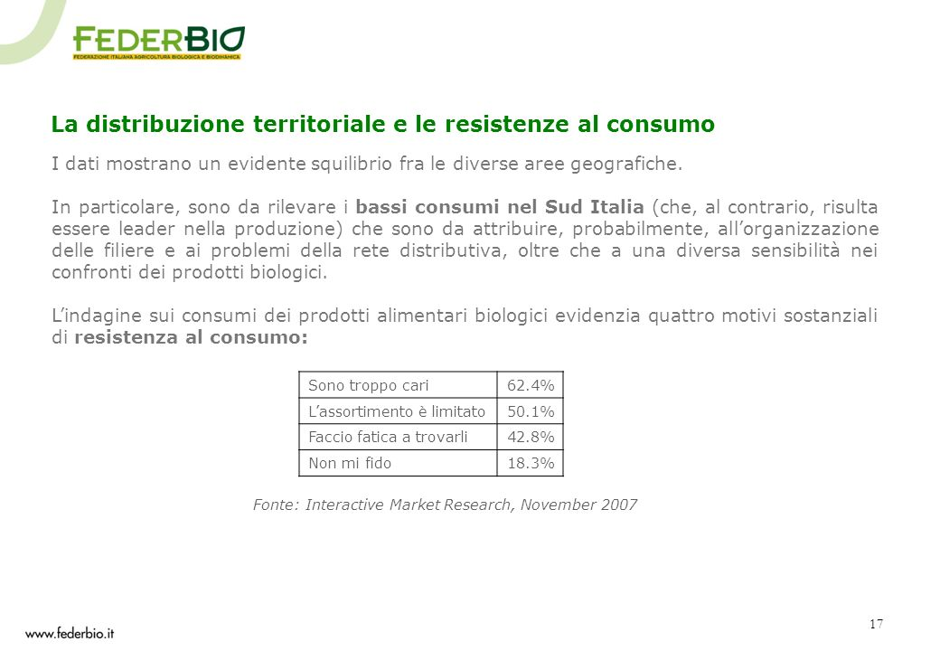17 La distribuzione territoriale e le resistenze al consumo I dati mostrano un evidente squilibrio fra le diverse aree geografiche. In particolare, so