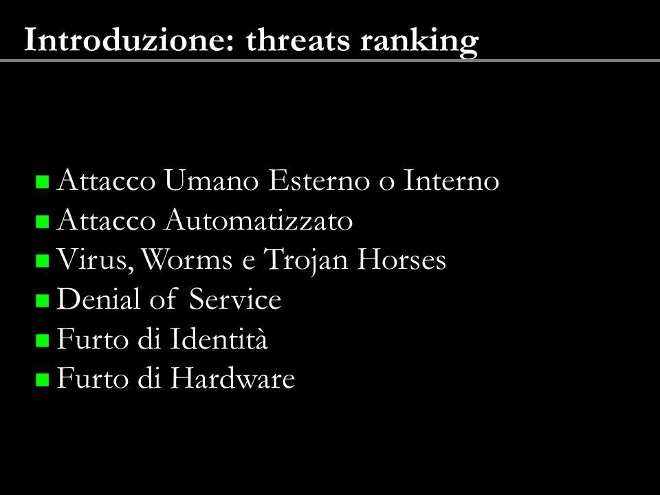 Introduzione: threats ranking Attacco Umano Esterno o Interno Attacco Automatizzato Virus, Worms e Trojan Horses Denial of Service Furto di Identità F