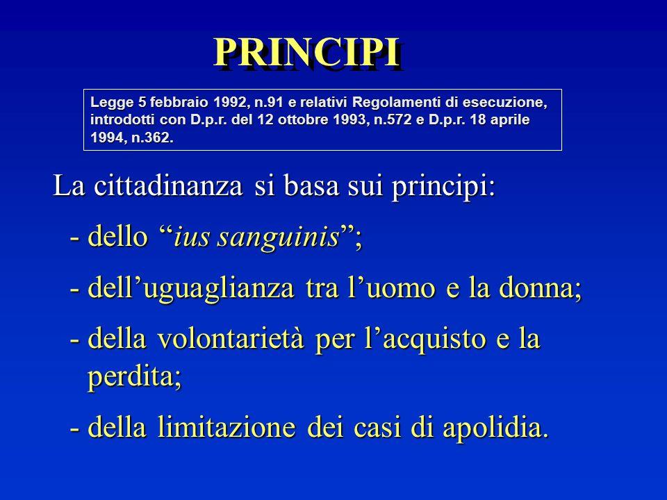 La cittadinanza italiana, basata principalmente sullo