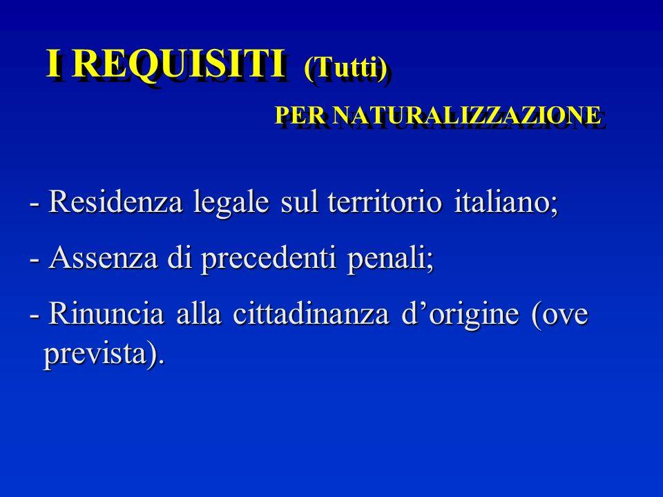 I REQUISITI (Tutti) PER MATRIMONIO CON CITTADINO/A ITALIANO/A - Residenza legale in Italia per un periodo di almeno sei mesi dopo il matrimonio oppure