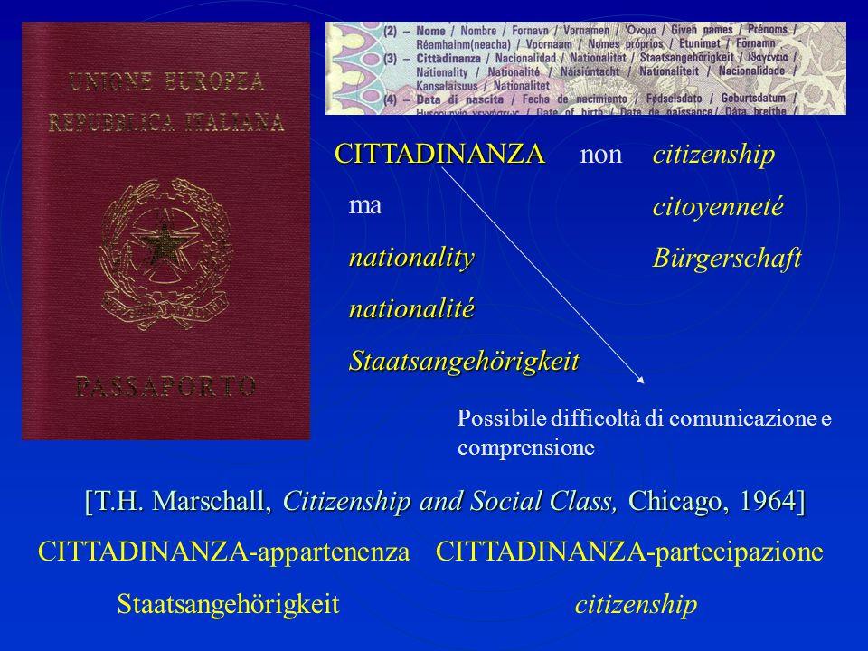Il termine 'cittadinanza', al di là degli impieghi retorici cui esso si è prestato e si presta, serve a colmare una sorta di vuoto lessicale e concett