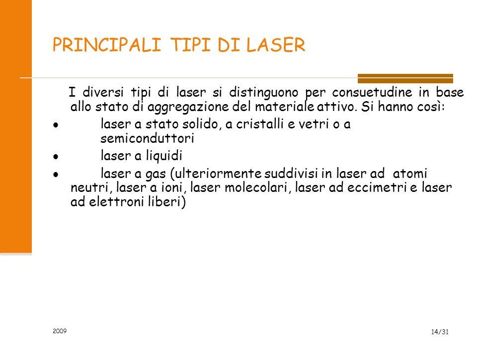 2009 13/31 DISPOSITIVO LASER Laser a rubino: è essenzialmente formato da una cavità speculare nel cui interno sono inserite una lampada flash e una sb