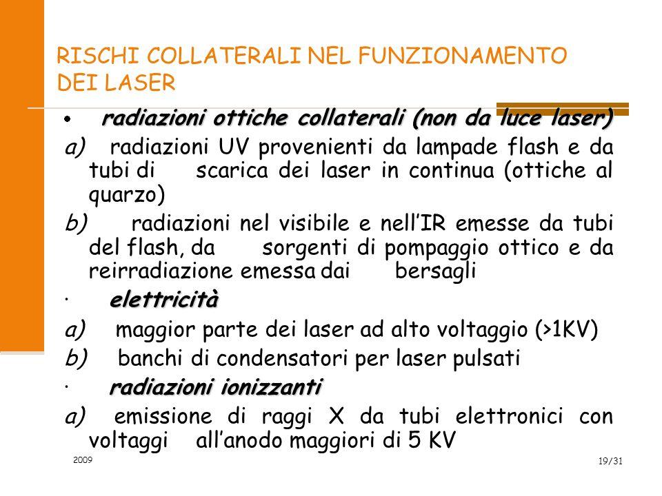 2009 18/31 RISCHI COLLATERALI NEL FUNZIONAMENTO DEI LASER contaminazione ambientale a) materiale bersaglio vaporizzato e prodotti provenienti da opera