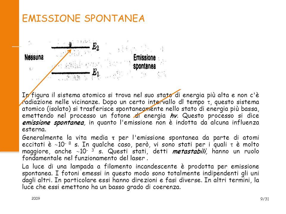 2009 8/31 ASSORBIMENTO La figura illustra un sistema atomico nel più basso di due possibili stati, di energie E 1 e E 2, in presenza di radiazione con