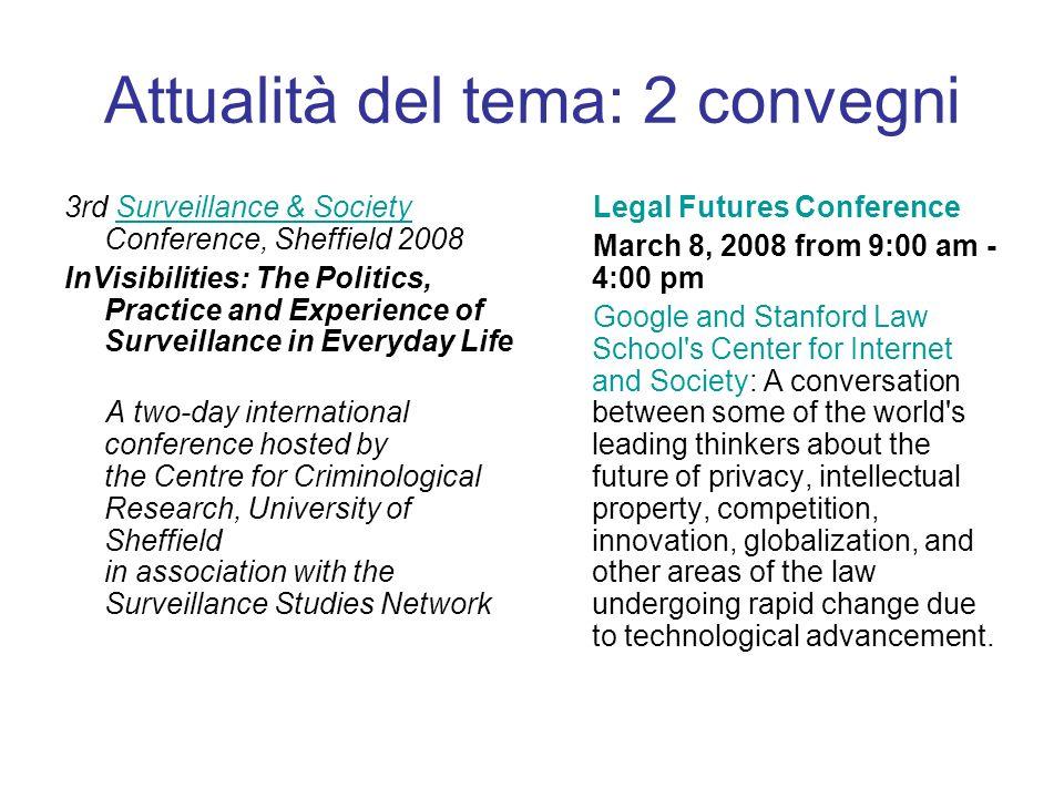 Attualità del tema: 2 convegni 3rd Surveillance & Society Conference, Sheffield 2008Surveillance & Society InVisibilities: The Politics, Practice and