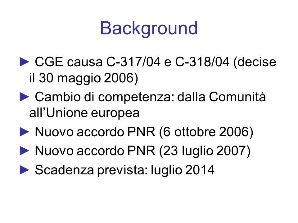 Background CGE causa C-317/04 e C-318/04 (decise il 30 maggio 2006) Cambio di competenza: dalla Comunità allUnione europea Nuovo accordo PNR (6 ottobr