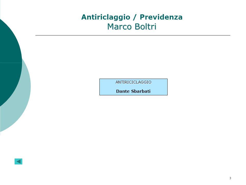 3 Marco Boltri Antiriclaggio / Previdenza Marco Boltri ANTIRICICLAGGIO Dante Sbarbati