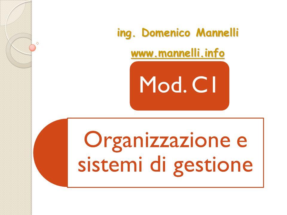Organizzazione e sistemi di gestione Mod. C1 ing. Domenico Mannelli wwww wwww wwww.... mmmm aaaa nnnn nnnn eeee llll llll iiii.... iiii nnnn ffff oooo