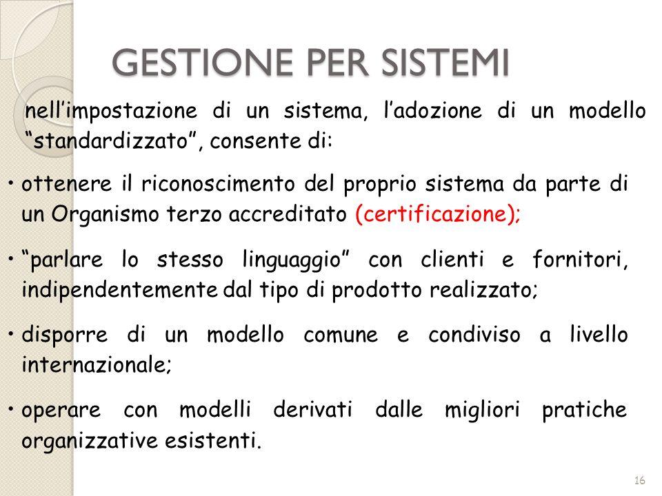 GESTIONE PER SISTEMI 16 nellimpostazione di un sistema, ladozione di un modello standardizzato, consente di: ottenere il riconoscimento del proprio si