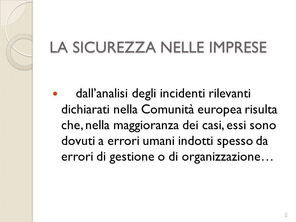 LA SICUREZZA NELLE IMPRESE dallanalisi degli incidenti rilevanti dichiarati nella Comunità europea risulta che, nella maggioranza dei casi, essi sono
