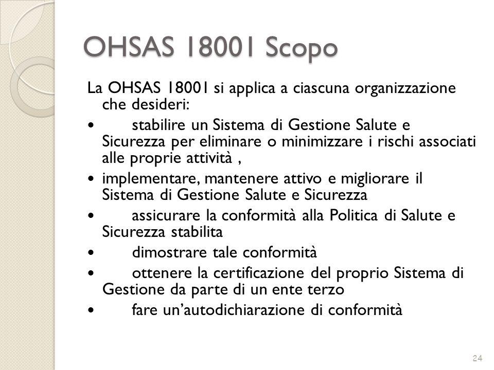 OHSAS 18001 Scopo La OHSAS 18001 si applica a ciascuna organizzazione che desideri: stabilire un Sistema di Gestione Salute e Sicurezza per eliminare