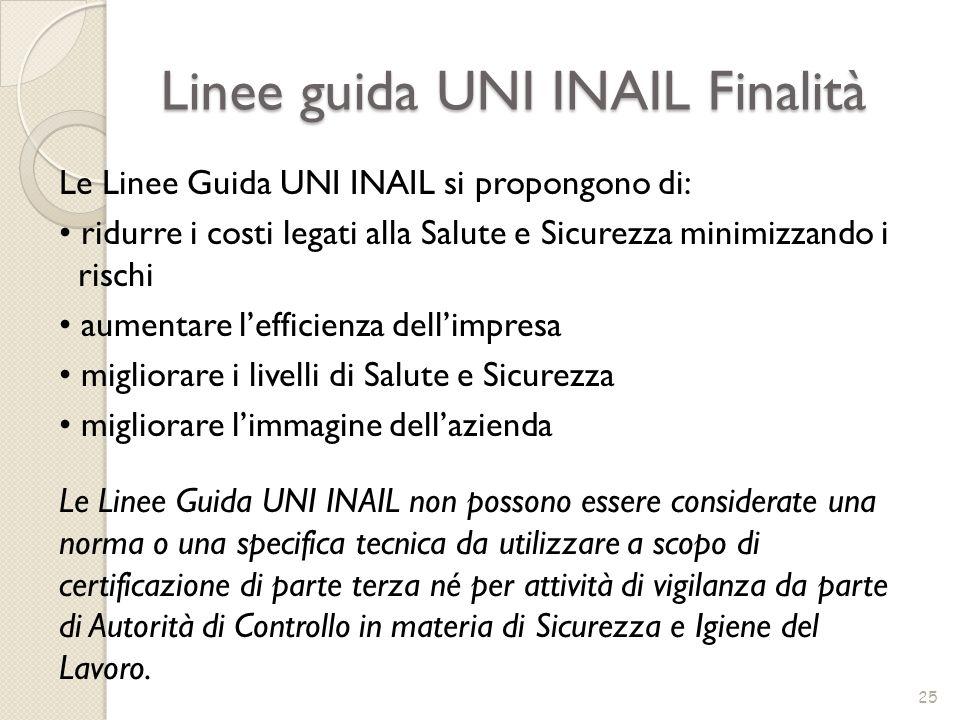 Linee guida UNI INAIL Finalità 25 Le Linee Guida UNI INAIL si propongono di: ridurre i costi legati alla Salute e Sicurezza minimizzando i rischi aume