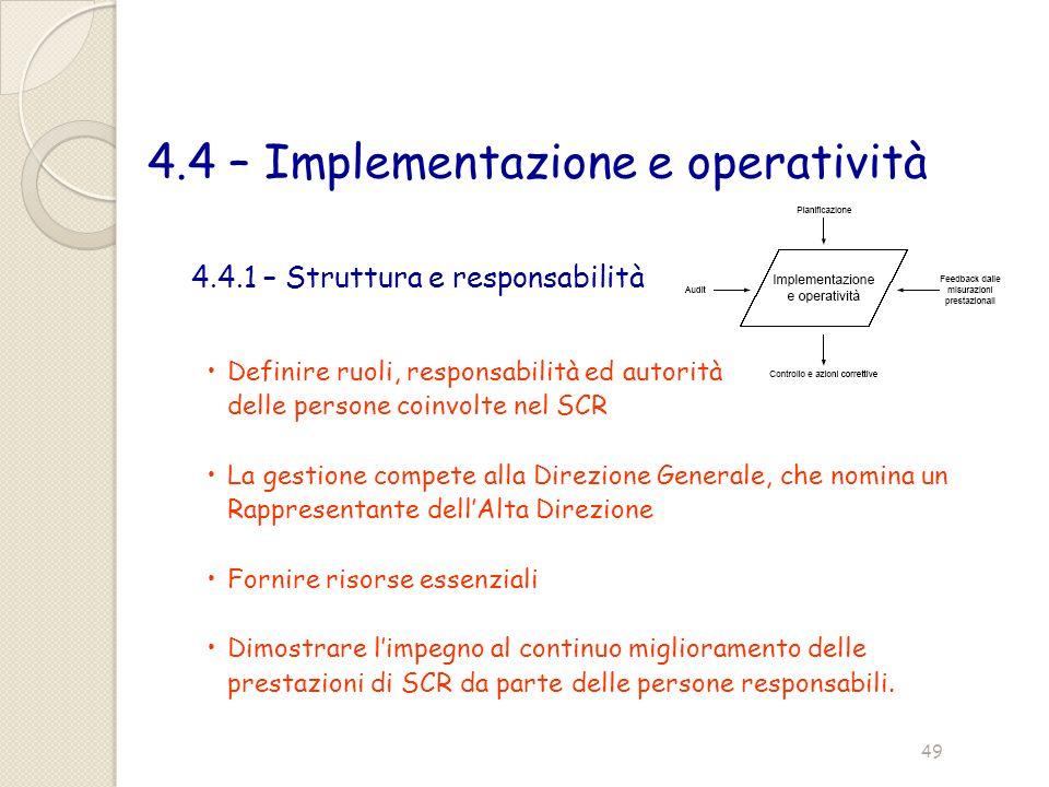 4.4 – Implementazione e operatività 4.4.1 – Struttura e responsabilità Definire ruoli, responsabilità ed autorità delle persone coinvolte nel SCR La g