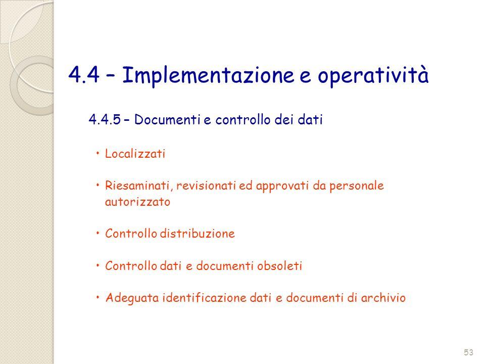 4.4 – Implementazione e operatività Localizzati Riesaminati, revisionati ed approvati da personale autorizzato Controllo distribuzione Controllo dati