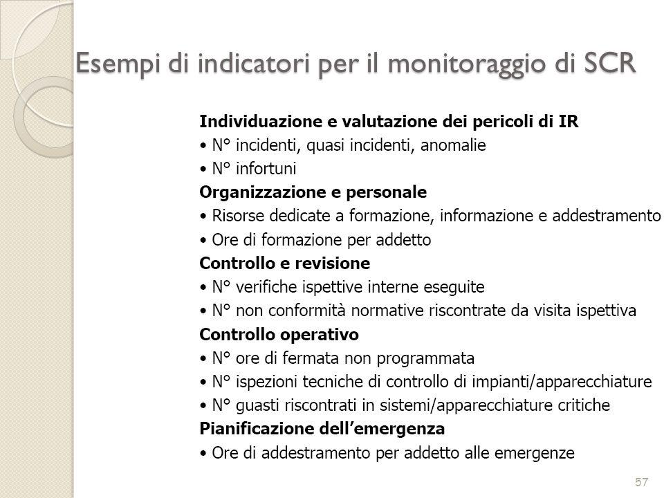 Esempi di indicatori per il monitoraggio di SCR 57