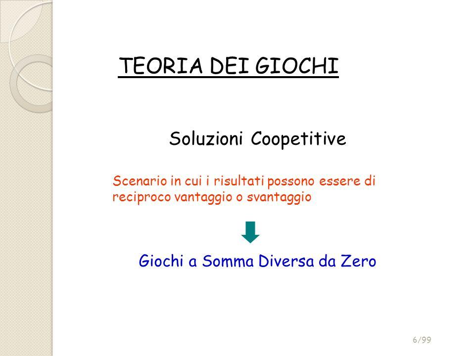 TEORIA DEI GIOCHI Soluzioni Coopetitive Scenario in cui i risultati possono essere di reciproco vantaggio o svantaggio Giochi a Somma Diversa da Zero