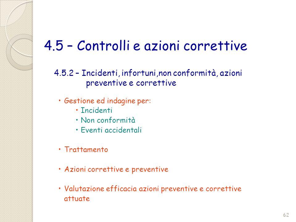 4.5 – Controlli e azioni correttive Gestione ed indagine per: Incidenti Non conformità Eventi accidentali Trattamento Azioni correttive e preventive V