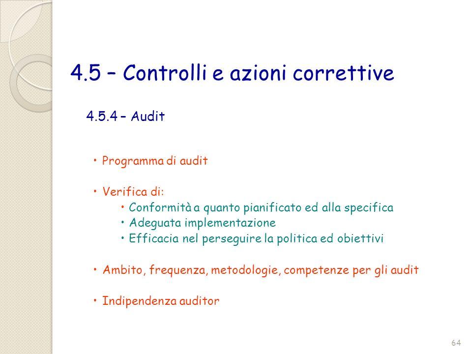 4.5 – Controlli e azioni correttive Programma di audit Verifica di: Conformità a quanto pianificato ed alla specifica Adeguata implementazione Efficac