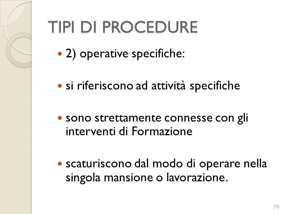 TIPI DI PROCEDURE 79 2) operative specifiche: si riferiscono ad attività specifiche sono strettamente connesse con gli interventi di Formazione scatur