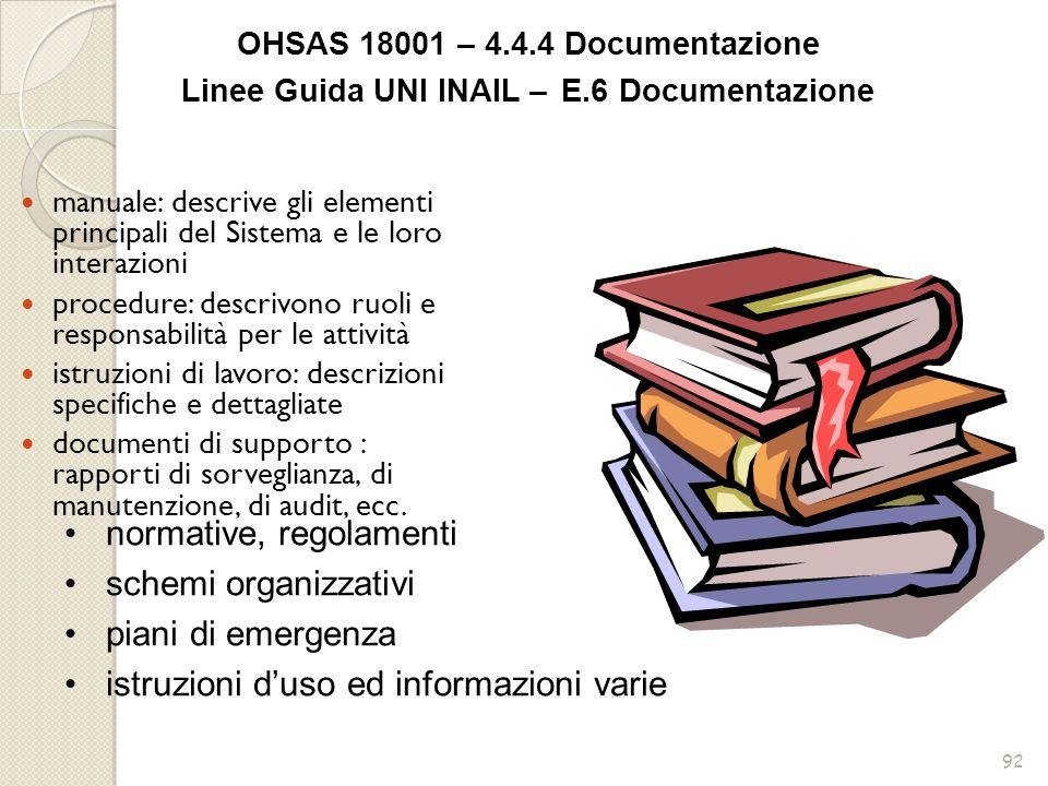 92 manuale: descrive gli elementi principali del Sistema e le loro interazioni procedure: descrivono ruoli e responsabilità per le attività istruzioni