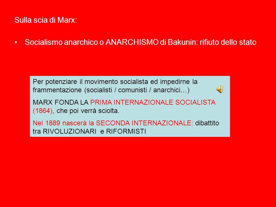 Sulla scia di Marx: Socialismo anarchico o ANARCHISMO di Bakunin: rifiuto dello stato Per potenziare il movimento socialista ed impedirne la frammenta