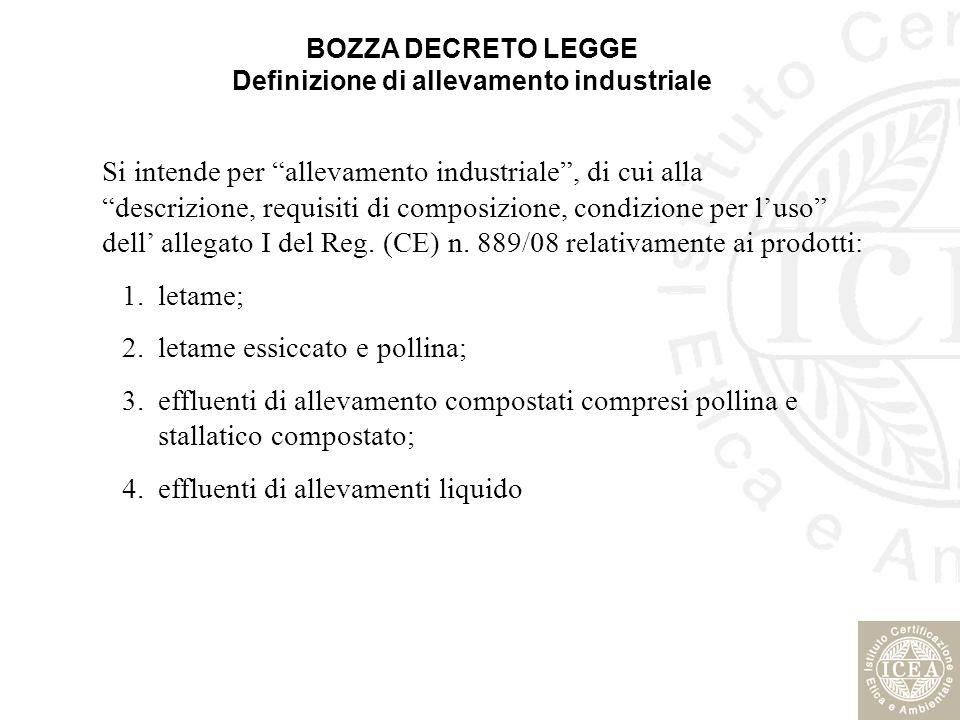 BOZZA DECRETO LEGGE Definizione di allevamento industriale Si intende per allevamento industriale, di cui alla descrizione, requisiti di composizione,