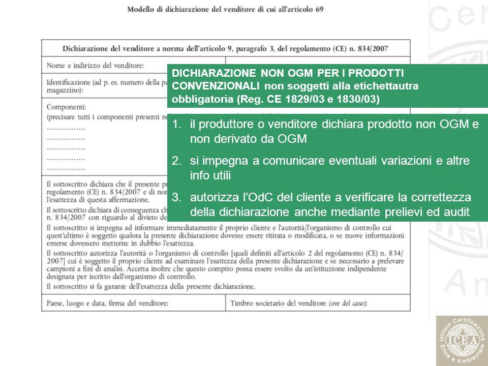 DICHIARAZIONE NON OGM PER I PRODOTTI CONVENZIONALI non soggetti alla etichettautra obbligatoria (Reg. CE 1829/03 e 1830/03) 1.il produttore o venditor