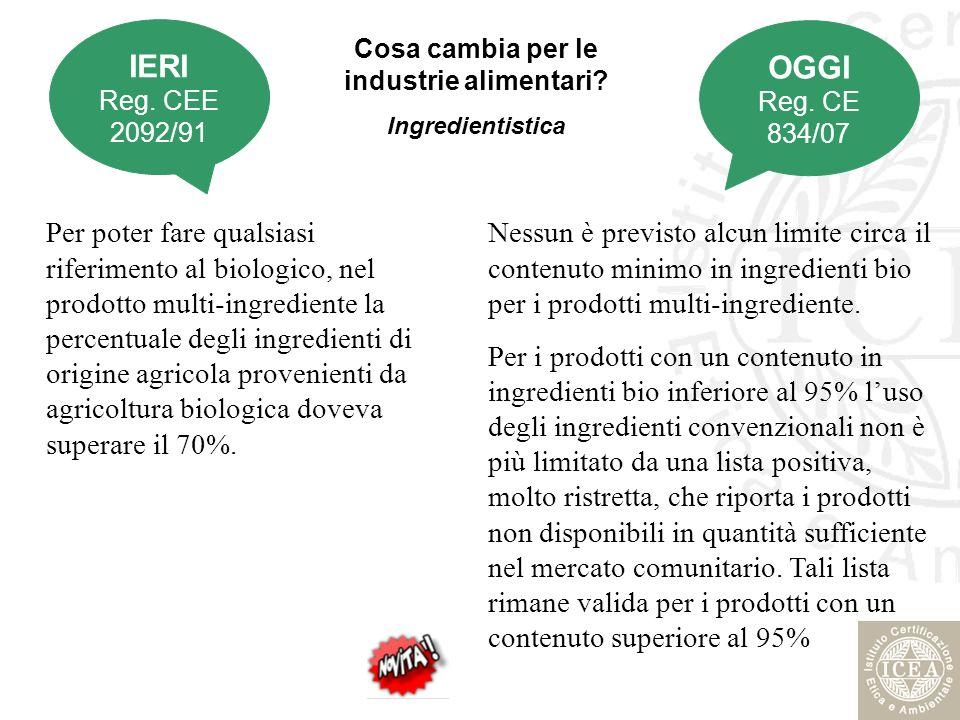 Cosa cambia per le industrie alimentari? Ingredientistica Per poter fare qualsiasi riferimento al biologico, nel prodotto multi-ingrediente la percent