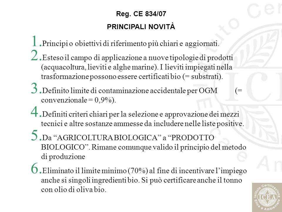 PRINCIPALI NOVITÀ 1. Principi o obiettivi di riferimento più chiari e aggiornati. 2. Esteso il campo di applicazione a nuove tipologie di prodotti (ac