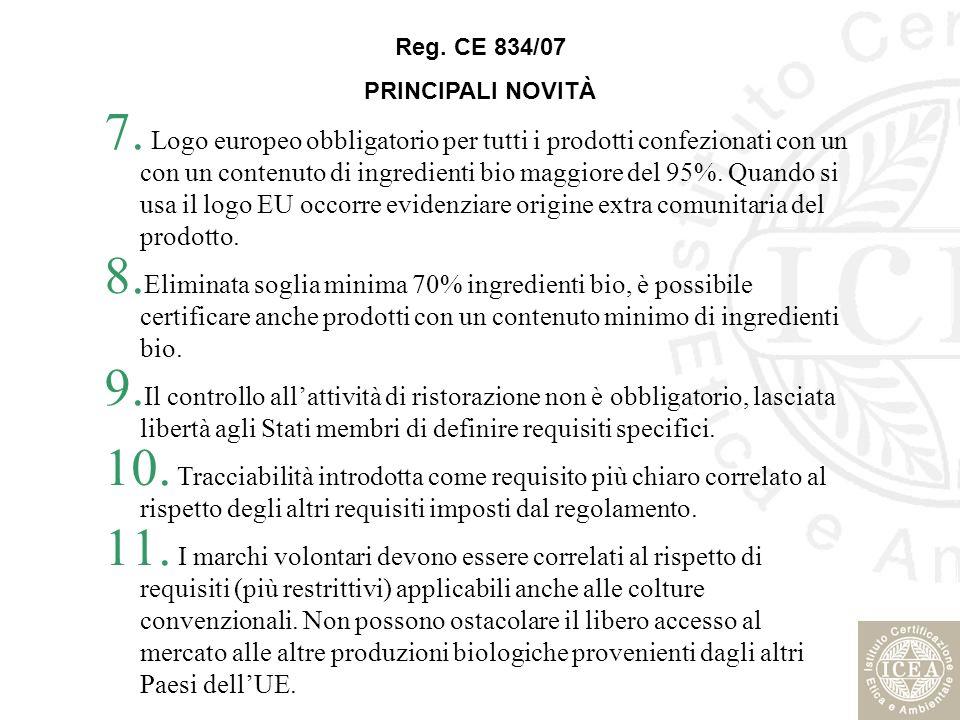 7. Logo europeo obbligatorio per tutti i prodotti confezionati con un con un contenuto di ingredienti bio maggiore del 95%. Quando si usa il logo EU o