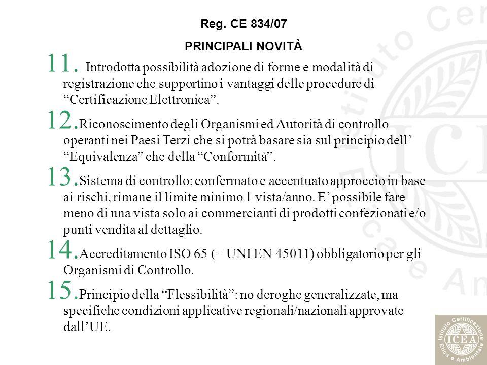 11. Introdotta possibilità adozione di forme e modalità di registrazione che supportino i vantaggi delle procedure di Certificazione Elettronica. 12.