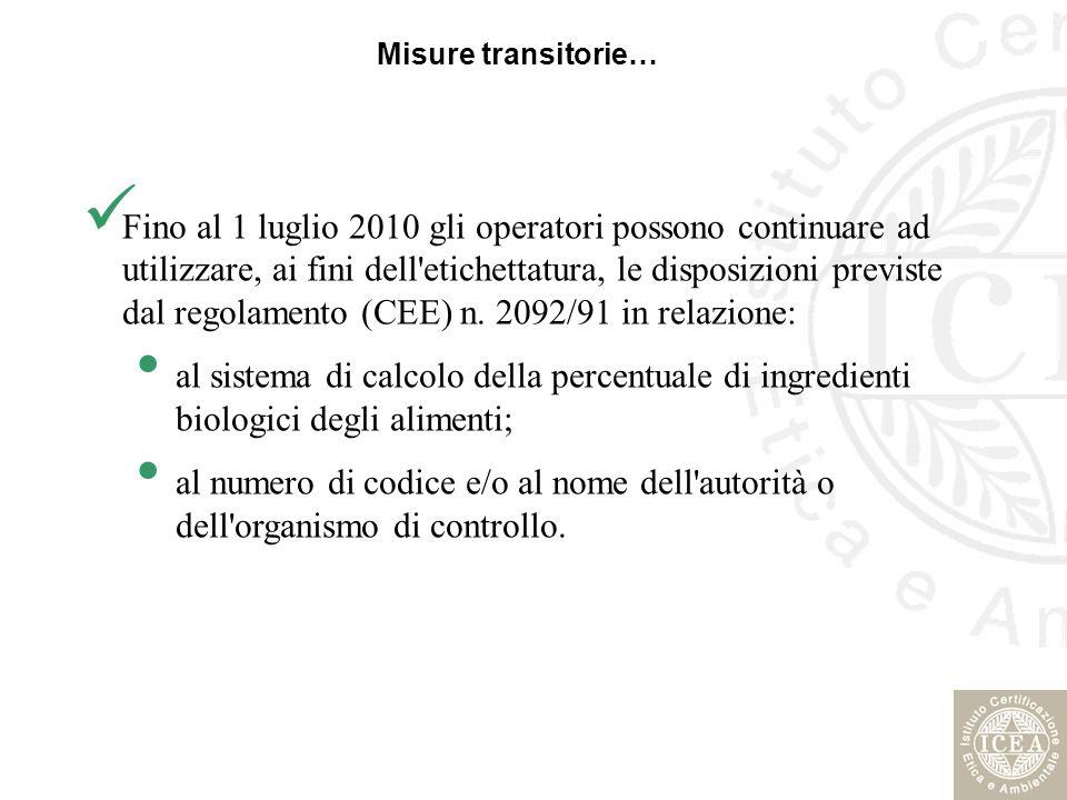 Misure transitorie… Fino al 1 luglio 2010 gli operatori possono continuare ad utilizzare, ai fini dell'etichettatura, le disposizioni previste dal reg
