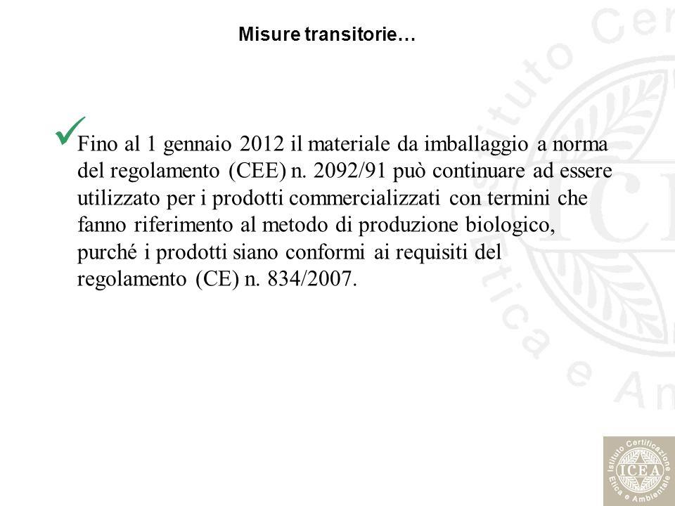 Misure transitorie… Fino al 1 gennaio 2012 il materiale da imballaggio a norma del regolamento (CEE) n. 2092/91 può continuare ad essere utilizzato pe