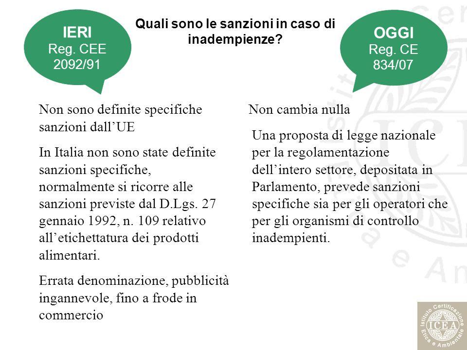 Quali sono le sanzioni in caso di inadempienze? Non sono definite specifiche sanzioni dallUE In Italia non sono state definite sanzioni specifiche, no