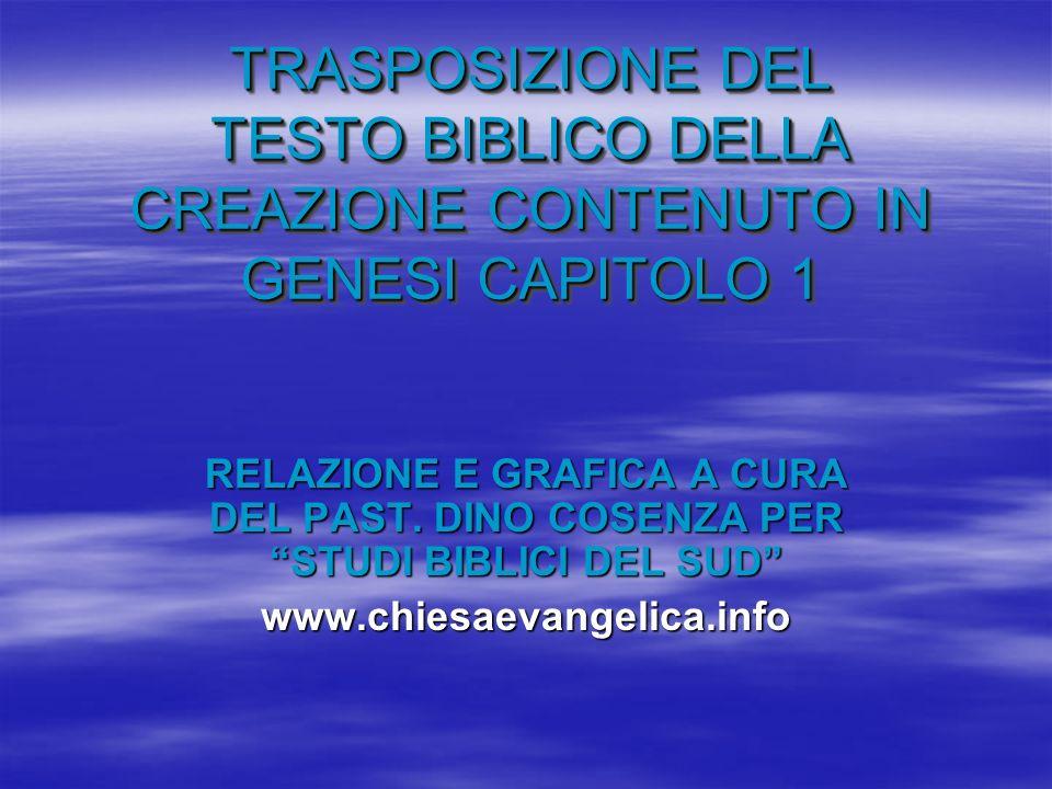 TRASPOSIZIONE DEL TESTO BIBLICO DELLA CREAZIONE CONTENUTO IN GENESI CAPITOLO 1 RELAZIONE E GRAFICA A CURA DEL PAST. DINO COSENZA PER STUDI BIBLICI DEL