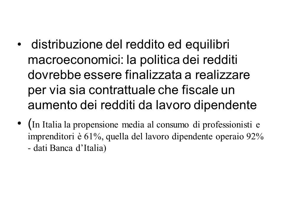 distribuzione del reddito ed equilibri macroeconomici: la politica dei redditi dovrebbe essere finalizzata a realizzare per via sia contrattuale che f